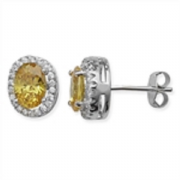 Sterling Silver Oval Citrine and Clear Cubic Zirconia halo stud earrings